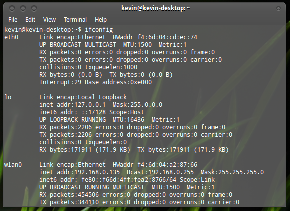 ip adress ubuntu via terminal